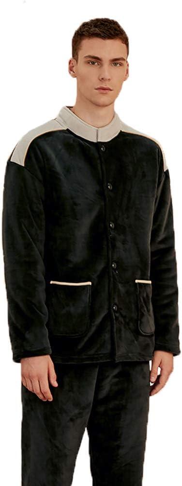 New Men Long Sleeve Padded Coral Fleece Pajama Set,Winter Thicken Warm Comfy Cardigan Stand-Up Collar Casual Loungewear Sleepwear Suit,Dark Green,M