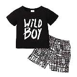 Kucnuzki Toddler Baby Boy Clothes Summer Outfits Short Sleeve Letters Printed Shirt Shorts Sets 2PC Little Boy Clothing (Black, 2-3T)