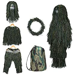 small SHINYEVER 5 in 1 Ghillie Suit – 3D camouflage hunting wear including jackets, pants, hoods and more.