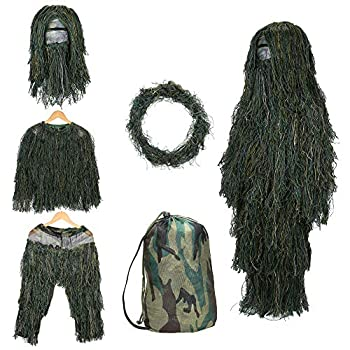 SHINYEVER 5 in 1 Ghillie Suit – 3D Camouflage Hunting Apparel Including Jacket Pants Hood Rifle Wrap Carry Bag Suitable for Unisex Adults/Kids/Youth  M/L/XL/XXL   Grass XL