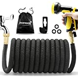 Panda Grip [Updated 3750D Garden Hose 75ft, Expandable Garden Water Hose Flexible Strongest Triple Latex Core with 3/4 Solid Brass Fittings 10 Function Spray Nozzle for Watering and Cleaning