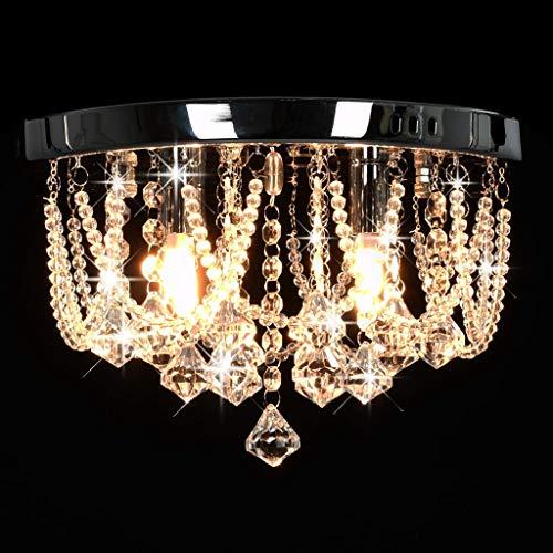 vidaXL Deckenleuchte mit Kristallperlen Hängeleuchte Kristall Kronleuchter Lüster Deckenlampe Leuchte Pendelleuchte Silbern Rund 4X G9 Glühbirnen