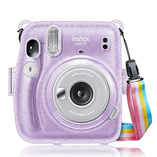 Fintie Tasche für Fujifilm Instax Mini 11 Sofortbildkamera - Transparent Hart PVC Schutzhülle Reise Kameratasche Hülle Abdeckung mit abnehmbaren Riemen, Schimmernd Lila