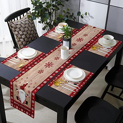 HOMMOU Juego de 4 manteles individuales con camino de mesa para cocina,...