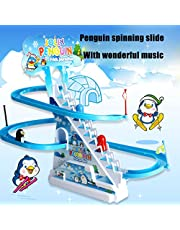 Penguin Sliding Track Puzzle Electric Race Train Track Toy with Music