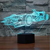 SUPERIORVZND F1 Racing Shapes 3D Night Light Touch Table Desk Optical Illusion Lamps 7 Color Changing Lights Home Decoration Xmas Birthday Gift