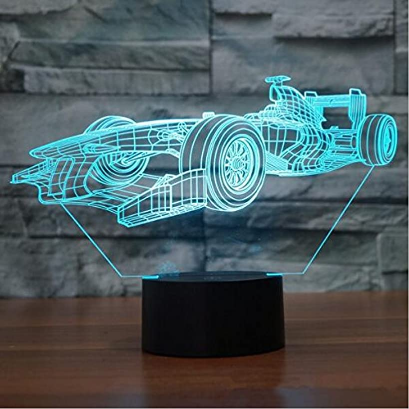 F1 Racing Shapes 3D Night Light Touch Table Desk Optical Illusion Lamps 7 Color Changing Lights Home Decoration Xmas Birthday Gift