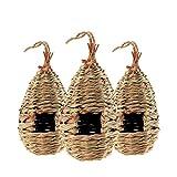 bestcool nido per uccelli, confezione da 3 pezzi casetta per uccelli intrecciati a mano nido uccello erba casetta uccellini da giardino