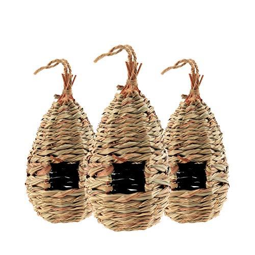 Bestcool Vogelnest Garten, 3er Pack Handgewebte Vogelhütte Gras Bird Nest