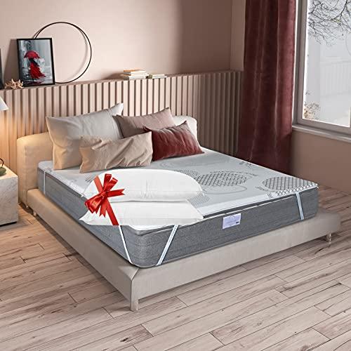 Protector de colchón con memoria de forma – 2 almohadas incluidas – LisaFlex – Funda con cremallera – Dos caras (invierno/verano) – 4 elásticos – Tejido natural – Oeko Tex (160 x 200 cm, 4,5 cm)