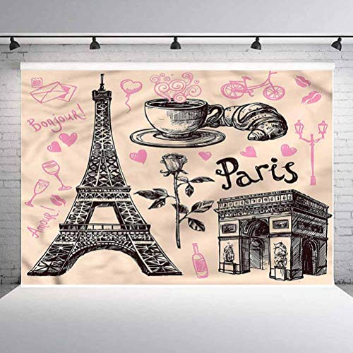 7x7FT Vinyl Wall Photography Backdrop,Eiffel Tower,Bakery in Paris Eiffel Background for Party Home Decor Outdoorsy Theme Shoot Props