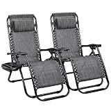 Devoko Patio Zero Gravity Chair Outdoor Folding Adjustable Reclining Chairs Pool Side Using Lawn Lounge Chair with Pillow Set of 2 (Double-Grey)