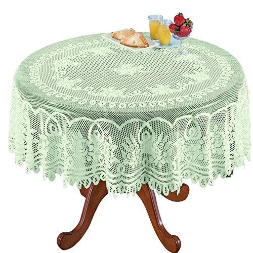 AMIPOS - Manteles de ganchillo con encaje verde, lavable, poliéster, telar jacquard, mantel de mesa para bodas, fiestas, restaurantes, banquetes, picnic, decoración (verde, redondo, 180 cm)