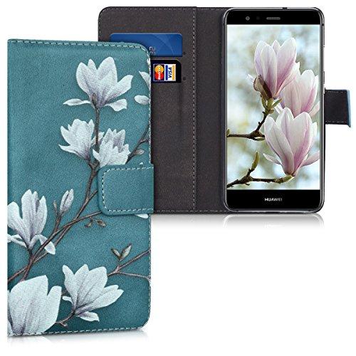 kwmobile Hülle kompatibel mit Huawei P10 Lite - Kunstleder Wallet Hülle mit Kartenfächern Stand Magnolien Taupe Weiß Blaugrau