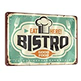 Bargburm Bistro Eat Here Good Food Retro Sign Tin Art Wall Decor Vintage Aluminum Metal Sign Iron Painting Vintage Decorative Signs Coffe Wall Decoration