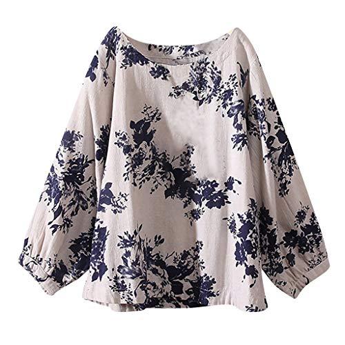Discover Bargain Malbaba Camiseta de algodón de lino para Mujer Blusas de Manga Larga Camiseta étn...