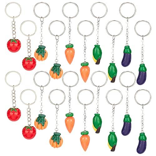 NBEADS Juego de 45 llaveros de resina con forma de verduras y corazones, de resina, berenjena, maíz, calabaza, zanahoria, tomate, para hacer joyas, llavero, bolso, adorno decorativo