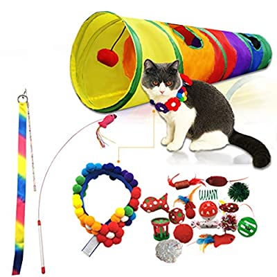 Auland 20PCS Cat Toys Kitten Toys Assortments Interactive Cat Toys for Indoor Cats with Cat Tunnel Balls Fish Feather Wand Fake Mouse Toys for Puppy Kitty Kitten