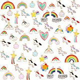 60 Pieces Jewelry Charms Set, Including 40 Pieces Mixed Gold Rainbow Charms Enamel Plated Rainbow Alloy Charm and 20 Pieces Unicorn Charm Pendant for DIY Jewelry Craft Making