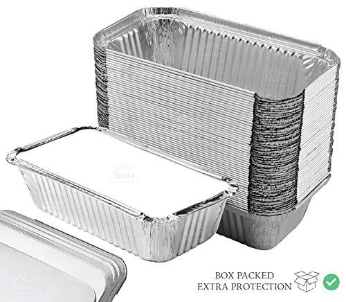 55 Pack  Loaf Pans with Lids, Aluminum Loaf Pans, Bread Pans, Meatloaf Pans l Cake Pan, Foil Loaf Pans, Disposable Aluminum l Tin Pans, 650 ml capacity  Size 7.8x4.3x2 by Spare Essentials