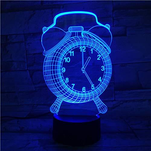 Yujzpl 3D-illusielamp Led-nachtlampje, USB-aangedreven 7 kleuren Knipperende aanraakschakelaar Slaapkamer Decoratie Verlichting voor kinderen Kerstcadeau-Wekker