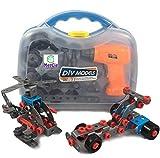 Bloques de construcción 12 en 1   282 piezas para construirte un auto, avión, moto y camiones. Con herramientas que incluyen un destornillador eléctrico   Gran regalo para niños 6 7 8 9 10+ años