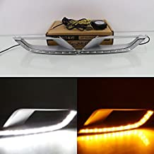 July King LED Daytime Running Light DRL for Ford Ranger Wildtrak 2015-2018 Square Fog Lights Version, LED Front Bumper Light With Yellow Turn Signal Light