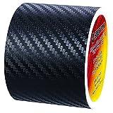 Spurtar Cinta Adhesiva Universal de Fibra de Carbono 6 Metros Negro Pegatinas Umbral de Puerta de Coche Protector Tira Umbral Coche Pegatinas de Fibra de Carbono para Coche