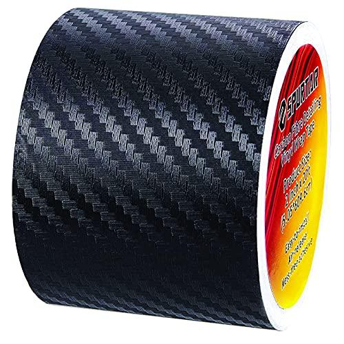 Spurtar 3D Carbon Fiber Vinyl Folie Aufkleber Roll Wrap (50mm x 6m) Schwarz Carbonfolie Autofolie Dekorstreifen Universal Selbstklebend Car Tuning Schutzfolie Karbon Folie für Auto, DIY Auto Wrapping