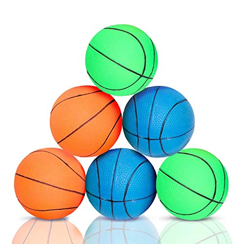 Nobleza Hundespielzeug - Robuster Hundeball - Gummischaum Basketball - Durchmesser 7,2 cm - 6 Stück