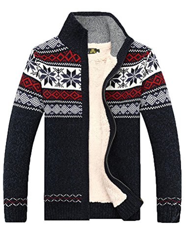 MatchLife Herren Reißverschluss Pullover Drucken Mantel Style2 L Blue Fleece