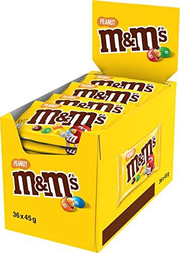 M&M's PEANUT -Billes à la cacahuète enrobés de chocolat au lait - Sachets de 45g de billes- Maxi Pack de 36 sachets