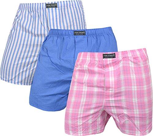 normani 3 x Herren Web Boxershorts aus Reiner Baumwolle Farbe Blau/Pink Größe L