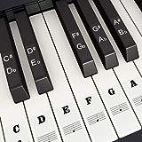 adesivi per tastiera di pianoforte per 37, 49, 54, 61, 88 tasti, piano e tastiera music note adesivi per bianco e nero chiavi, trasparente e rimovibile, perfetto per bambini e principianti