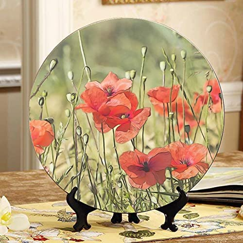ALALAL Poppies outlet Flowers Poppy Red Plants Field Under blast sales Cerami Cute Plates