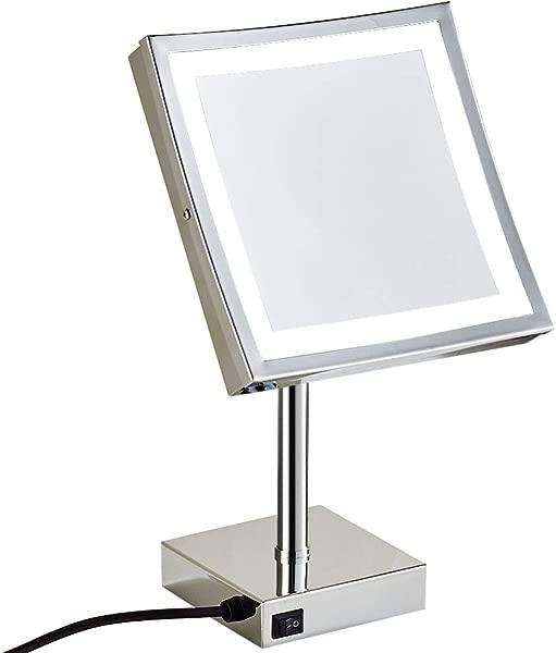 8 英寸 led灯桌面化妆镜放大化妆品可调台面梳妆镜带插头 3 级灯自然冷暖 5X