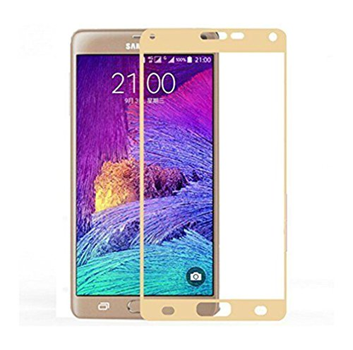 Galaxy Note 4 Screen Protector, Fuzzy Green Limited Colorful Anti Scratch Tempered Glass Screen Protector Film for Samsung Galaxy Note 4 N9100 (Gold)