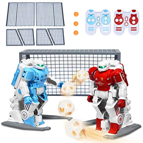 Costzon Soccer Robots 2 PCS for Kids, ASTM Certification, Dribbling, Shooting, Passing, LED Eyes, Interactive 2.4G RC Robot Football Player Set w/ 2 Goals, Remote Control, Rechargeable Battery