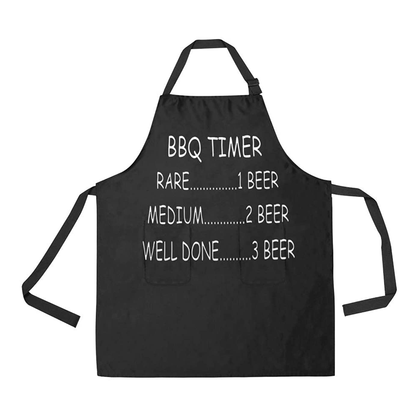 INTERESTPRINT Funny BBQ All Over Print Adjustable Bib Apron with Pockets - Funny BBQ Timer Barbecue for Women Men, Large Size