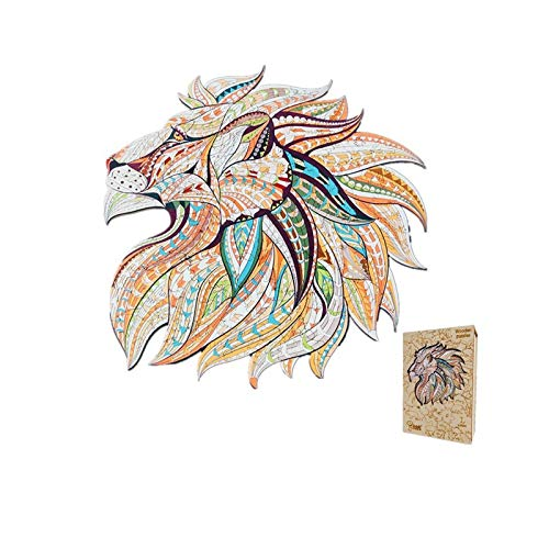 N N Jigsaw Puzzle Wooden 5mm Thick Wooden Puzzle Toy Lion Wooden Jigsaw Puzzle Large Size Childrens Puzzle 175 Pieces Animal Shaped Jigsaw Gifts for Mom Dad Toys Gift for Friend
