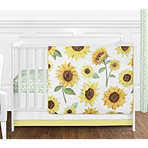Sweet Jojo Designs Yellow, Green and White Sunflower Boho Floral Baby Girl Nursery Crib Bedding Set – 4 Pieces – Farmhouse Watercolor Flower