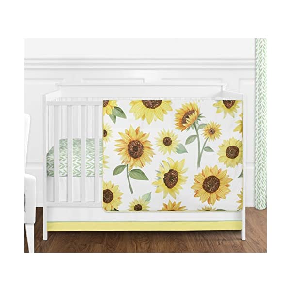 Sweet Jojo Designs Yellow, Green and White Sunflower Boho Floral Baby Girl Nursery Crib Bedding Set – 4 Pieces – Farmhouse Watercolor Flower
