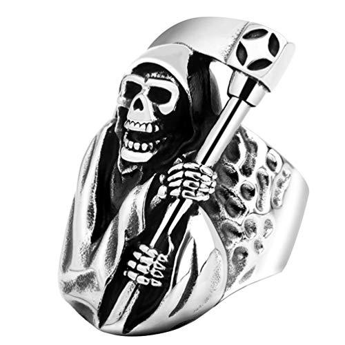 Happyyami Sugar Skull Rings The Dead Gothic Rings Casted Grim Reaper Skull Biker Rings Finger Jewelry for Women Men Decoration Size 15 (Silver)