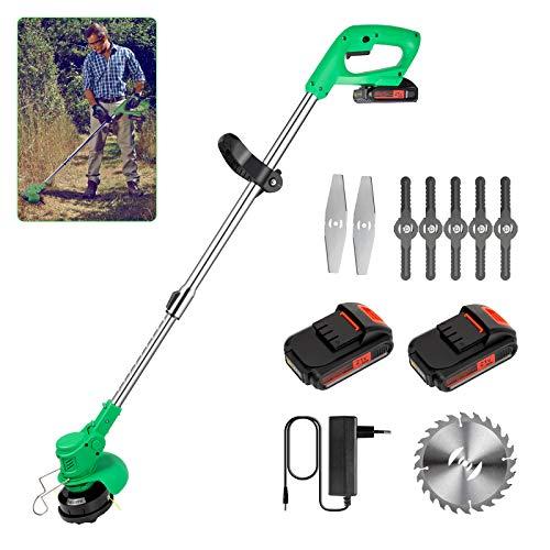 Rasentrimmer mit 2 x 2.0Ah Akku, EVARY 750W 21V Akku Rasentrimmer mit Messer, Dehnbarer, Leichter Akku Trimmer für Rasenschneiden, Rasenpflege, Auffahrt und Wegkante.
