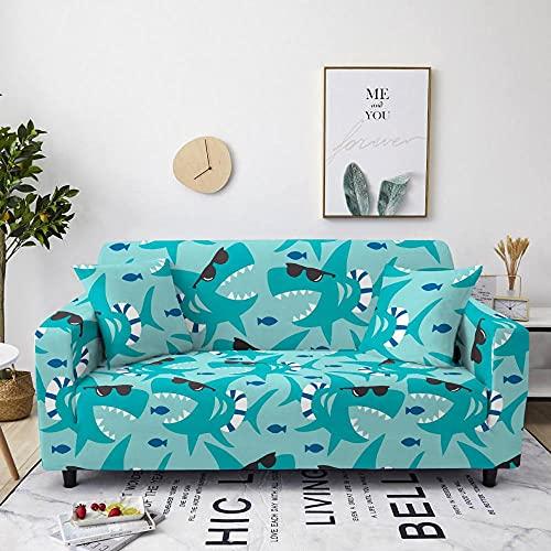 Fundas para Sofa 4 Plazas Funda de Sofa Elastica Cubre Sofa Cubresofá Funda Cubierta para sofá Ajustable Protector Lavable Funda de sillón para sofá 225-290cm, Tiburón Oceánico Animal C