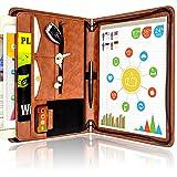 STYLIO Carpeta con cremallera marrón de portafolio de carpeta, organizador de documentos, organizador de carpeta para iPad/Tablet, teléfono y tarjetas de visita. con bloc de notas de carta