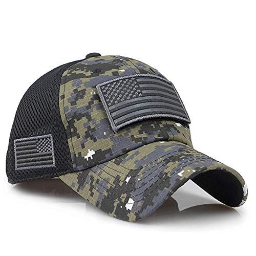 CHENGWJ Baseball Kappe Camouflage Baseball Caps Männer Summer Mesh Military Army Caps Konstruierte Trucker Cap Hüte Mit Usa Flag Patches