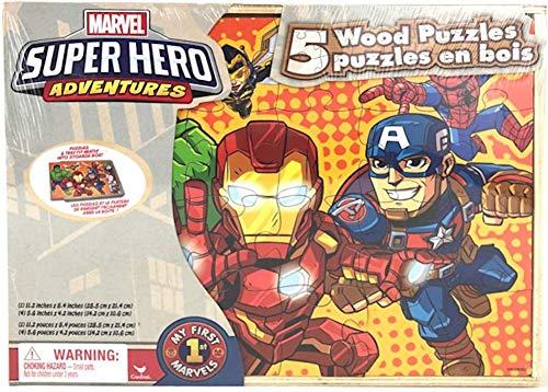 Marvel Super Hero Adventures 5 Wood Puzzles Set in Wooden Storage Box