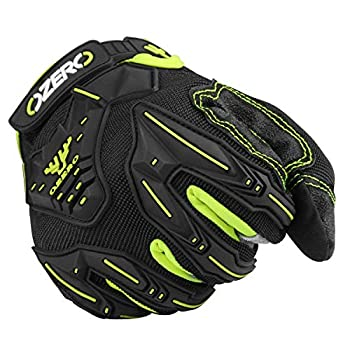 OZERO Motocross Gloves Deerskin Leather Palm with Impact Protective Big Gel - Hyflex Extra Grip Touch Screen Motorcycle Glove for Driving/ATV Riding/Mountain Cycling/Dirt Bike  Black,X-Large
