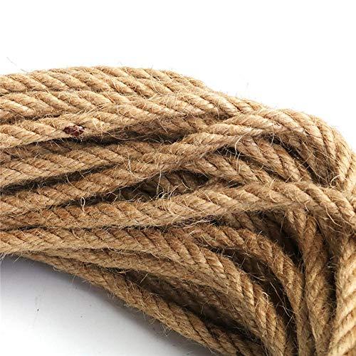 Más Fino 6 mm 1 m-50 m Cuerda de Yute Natural Cuerda de Cordel Cáñamo Cuerda Trenzada Cuerda de macramé DIY Artesanía Decoración Hecha a Mano Rasguño de Mascotas, 50 m